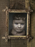 Creepy Halloween Framed Doll Stock Photo