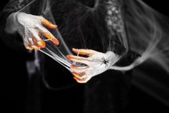 Creepy halloween hands with red, orange and silver covered in a spider web with spiders royalty free stock images