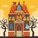Creepy Halloween Haunted House Scene Card Template. Creepy Halloween haunted house scene with ghost, skeleton, spiderweb and jack-o-lantern pumpkin. Halloween stock illustration