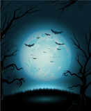 Creepy Halloween night poster full moon copy space Royalty Free Stock Photos