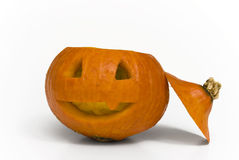 Creepy Halloween Pumpkin. With open top royalty free stock photo