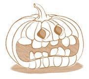Creepy Halloween pumpkin with funny face Royalty Free Stock Photos