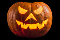 Creepy Halloween Pumpkin Shiny Black Royalty Free Stock Images