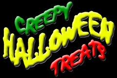 Creepy Halloween Treats. Illustration of creepy halloween treats title, isolated on black background Stock Illustration
