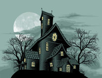 Creepy Haunted Ghost House Scene Illustration