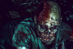 Creepy. Horrible scary zombie man on the ruins of an old house. Horror. Halloween Stock Images