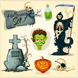Creepy and horror elemens for Halloween designs. Vector orange halloween pumpkin lantern, skull on gravestone cross, poisonous green potion bottle, zombie Royalty Free Stock Photography