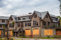 Creepy house. Abandoned spooky school for girls Stock Photo