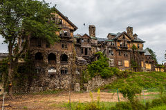 Creepy house. Abandoned spooky school for girls Royalty Free Stock Image