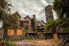 Creepy house. Abandoned spooky school for girls Stock Photos
