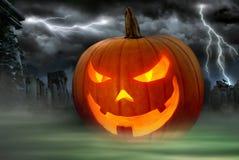 Free Creepy Jack O Lantern In A Misty Graveyard Royalty Free Stock Photos - 34258698