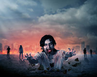 Creepy male zombie out from the ground. With destroyed city background Royalty Free Stock Image