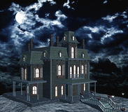 Creepy mansion in moonlight. Ghostly house with illuminated windows on a full moon night and clouds. 3D rendering Royalty Free Stock Image