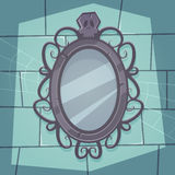 Creepy Mirror. Cartoon illustration of the creepy retro mirror with skull Royalty Free Stock Image
