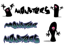 Creepy monster font and character over white Royalty Free Stock Photography