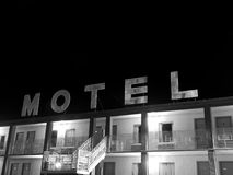 Creepy motel sign black and white Royalty Free Stock Photography