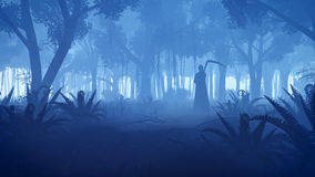 Creepy night forest with grim reaper silhouette Stock Image