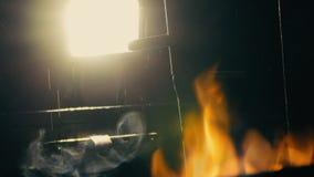 Creepy night lamp fire stock video footage
