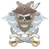 Creepy pirate skull Stock Images