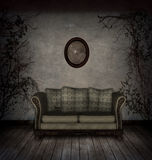 Creepy room. An old abandoned room with plants and sofa royalty free illustration