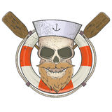 Creepy sailor skull with lifesaver and paddles Royalty Free Stock Photos