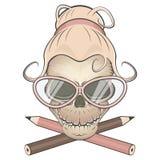 Creepy secretary skull Royalty Free Stock Image