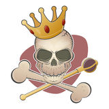 Creepy skull with crown and scepter Stock Images