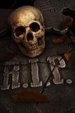 Creepy skull on gravestone Royalty Free Stock Photography