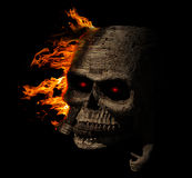 Creepy Skull wood facing right with fire Royalty Free Stock Photography