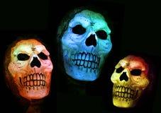 Creepy Skulls. Three illuminated halloween skulls against a black background Royalty Free Stock Photo