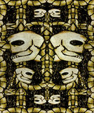 Creepy Skulls Pattern Background Stock Photo