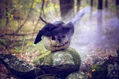 Creepy smoking pumpkin in forest. Gnarly, creepy pumpkin with witch hat on a stone wall with purple smoke stock photos