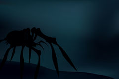 Creepy spider silhouette over dark, blue background. Vector Royalty Free Stock Image