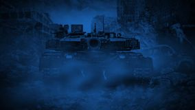 Creepy tank rides through the ruined night city during the zombie apocalypse. stock video footage