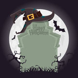 Creepy tombstone  and black witch hat for Halloween party decoration.  Vector  Stock Photos