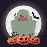 Creepy tombstone  and scary Halloween pumpkin.  Vector Royalty Free Stock Photo
