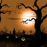 Creepy tree Halloween background with full moon Stock Image