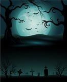 Creepy tree Halloween background with full moon Royalty Free Stock Photos