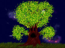 Creepy tree with leaves Royalty Free Stock Photo