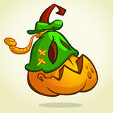 Creepy vector Halloween pumpkin head monster in mask drawn in a humorous cartoon style Royalty Free Stock Photo