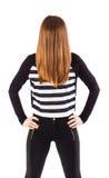 Creepy woman with hair over her face Stock Photos