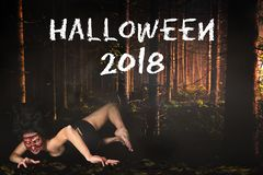 Creepy woman missing face in the forest and the message `Halloween 2018` royalty free stock image