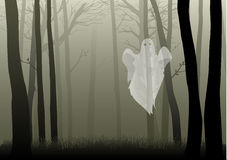 Creepy Woods. A ghost in the creepy woods, for Halloween theme Royalty Free Stock Photography