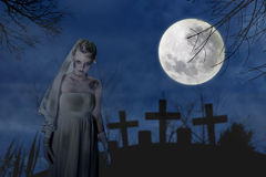 Creepy zombie bride Stock Images
