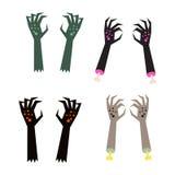 Creepy zombie corpse hands vector set. Stock Photo
