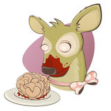 Creepy zombie deer with brain Royalty Free Stock Photography