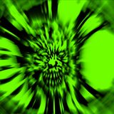Creepy zombie head. Illustration in green color. Stock Photography