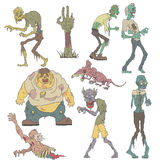 Creepy Zombies Outlined Drawings Stock Photo