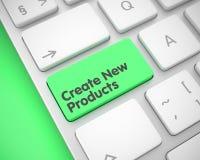 Crei i nuovi prodotti - testo sulla tastiera verde della tastiera 3d Fotografie Stock