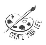 Crei la vostra vita Tavolozza con le pitture e spazzola isolata su fondo bianco Vettore Royalty Illustrazione gratis